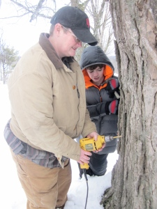 Patty has been dying to tap trees! She had to work when we tapped at the Sumner farm.